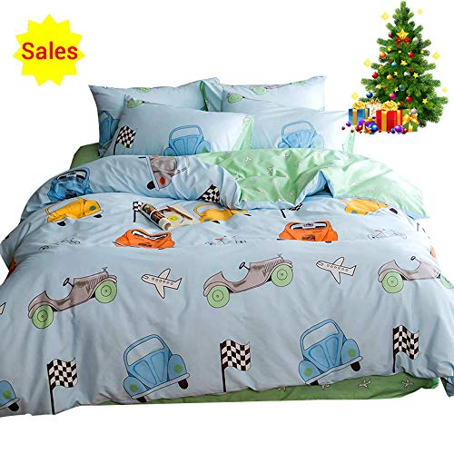 Lightweight Cotton Car Twin Duvet Cover Set 3 Piece Reversible Home Textile Vehicle Space Airplane Bedding Sets Twin with Pillow Shams for Kids Boys Grils Toddler Crib, Blue Bedding Sets,No - Bedding Car Set Race Crib