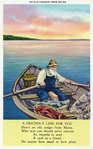 Maine - View of an Old Codger in a Boat with a Poem (12x18 SIGNED Print Master Art Print w/Certificate of Authenticity - Wall Decor Travel Poster)