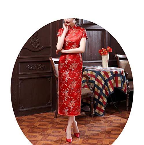 切る女将ラインサマーレディドレス女性半袖ロングドレスプラスサイズS-6XL,赤,XXXL
