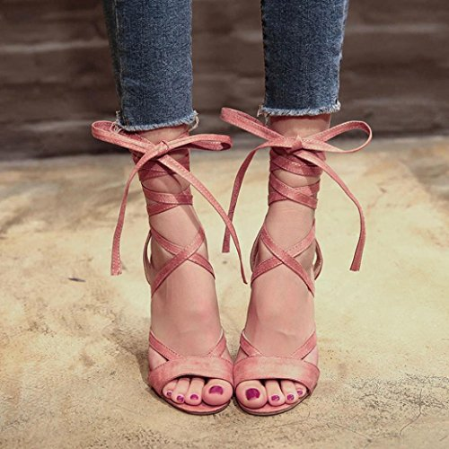 Lolittas Summer Ladies Gladiator Roman Sandals, Pretty Strappy Lace up Peep Toe Thick High Block Heel Wide Fit Slingback Cushioned Leather Shoes Size 2-6 Pink