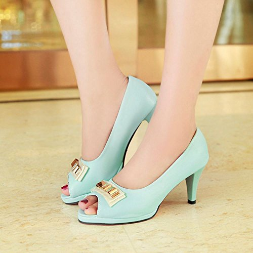 Slip Heel Toe Classic On with Block TAOFFEN Peep Blue Sandals women bow 0w4qUtI