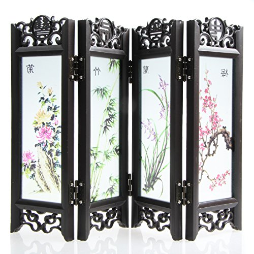 Chinese Traditional Crafts Small Lacquer Folding Screen (4-Slices) for Home Decoration (Floral)