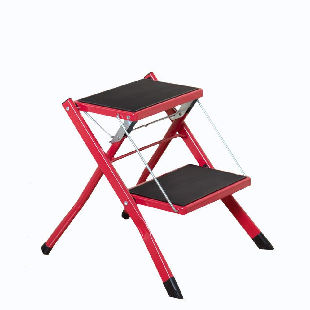 a precios asequibles MILAYA JI Bin Shop para Escaleras, Plancha 2 Capa De De De Cocina Taburete Elevación Escala Escalera Escalera Plegable del Hogar del Desván + (Color : Red)  Ahorre hasta un 70% de descuento.