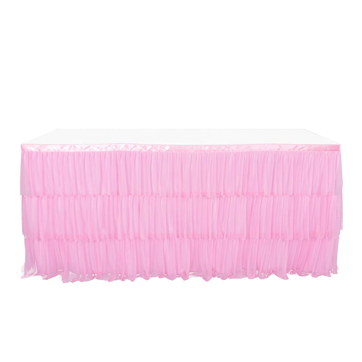 Tulle 9ft Pink Table Skirt For Round Or Rectangle Table With 3 Layer Dust Ruffle Skirting For Party, Meeting, Birthday, Wedding Decoration And Home Decor(L108Inch×H30Inch)