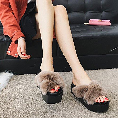 Khaki 5 Schuh Schwarz 4 Wedgies 4 Weiblich größe Farbe EU37 235 Kiefer Mode Sommer Modeschuhe LIXIONG Farben Unterseite CN37 UK4 Kuchen Dicker Hausschuhe Boden RvSCg