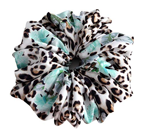 (Leopard and Flowers Print Large Hair Scrunchie Accessories Elastic Hair Ties Women's Ponytail Holder Wrap)