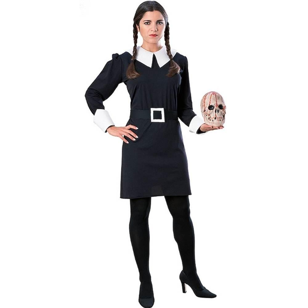 Costume Carnevale Halloween Travestimento Mercoledi Famiglia Addams – sexy donna Dress 12 to 14