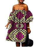 Mfasica Women African Print Shoulder Off Batik Fashion Sexy Cocktail Dress 3 2XL