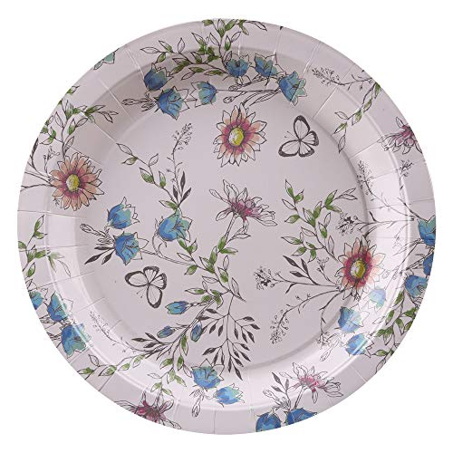 - Ottin Vintage Floral Paper Plates 80 Counts 9'' Disposable Tea Party Plates blue for Wedding Bridal Shower Engagement Birthday Home Gathering Summer Party Celebrations(Garden Flower, 9 Inches)