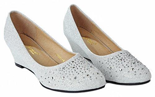 Donne Scintillanti Glitter Strass Comfort Formale Mid Kitten Tacco Zeppa Vestito Pompe Argento