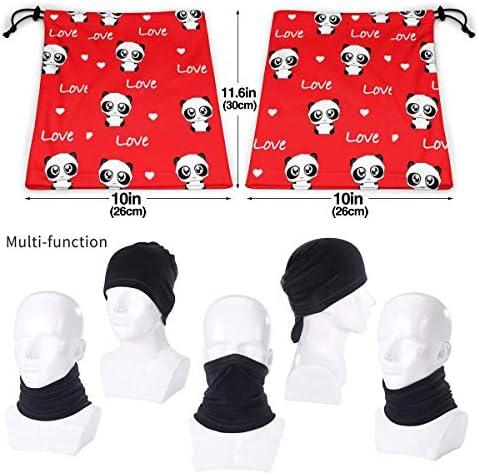 Panda And Love On Valentine's Day ネックガード 紫外線対策 バンダナ 日よけ 顔 フェイスガード 多機能 日よけ サイクリングカバー