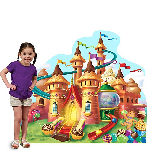 4 ft. 8 in. Candy Land Candy Castle Standee Standup Photo Booth Prop Background Backdrop Party Decoration Decor Scene Setter Cardboard Cutout]()