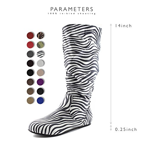 On Suede US DailyShoes Slouch Multicoloured Shoes 5 B Slip Faux M Flat Fashion Calf Comfortable Mid Toe Heel Knee 6 High Round Boots rEq0xBw0In