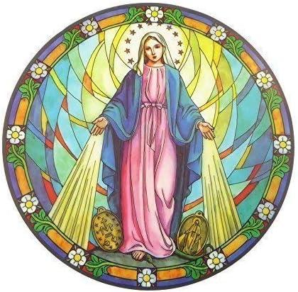 Adesivo catturaluce con vergine Maria miracolosa,riutilizzabile,15cm,per vetri e finestrini