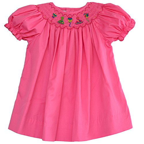 Carriage Boutique Baby Girl's Hand Smocked Bishop Dress - Pink Birthday Party, 3M
