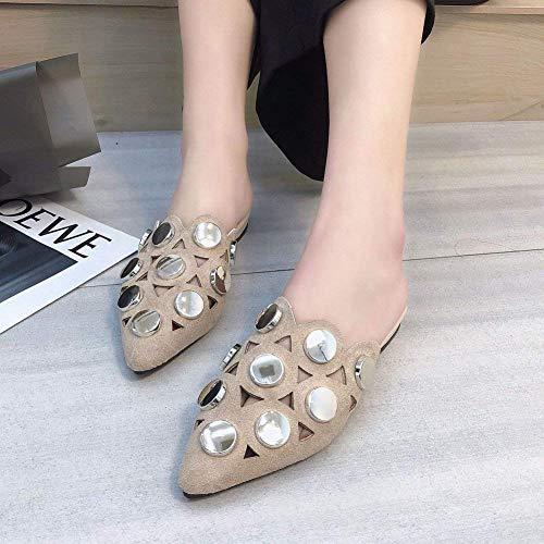 Mi Polieren Chaussures Slipper Porter coloré Oudan Polieren Baotou Fashion Woman Taille Des 37 cuisse Paresseuses qI11wA68H