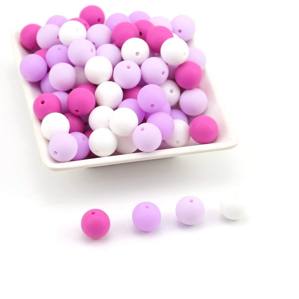 Mamimami Home Bei/ßring Silikon Perlen 15mm 50pc DIY Clips Schnullerkette Halskette Zahnen Babyarmband Montessori Baby Teething Beads