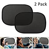 Glumes Car Shades For Side Windows, 50 x30 CM   Easy & Effective Way To Block Sun Glare, Harmful Heat, And UV Rays From Your Baby Child Or Pet's Eyes While Inside Auto   Black Mesh Design 2Pcs (Black)