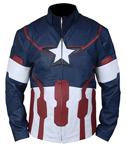 Captain Steve Rogers Costume (F&H Men's Avengers Age of Ultron Captain America Steve Rogers Jacket XL Blue)