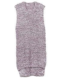 Feelwear Woman's Sleeveless Vest Retro Long Coat Pullover Knit Soft Sweater