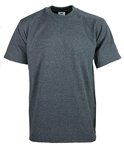 Men's Proclub Heavy Weight Solid Crewneck Short Sleeve Shirts Charcoal XL