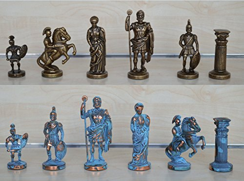 Copper Chess (Manopoulos Romans Chess Set - Blue-Copper - Handmade in Greece)