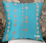 ElleWeiDeco Modern Turquoise blue with Flocking Dots Throw Pillow Cover