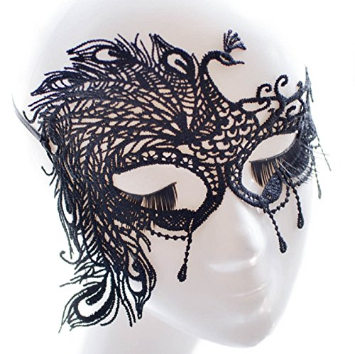 Hot Sale! 1 Pc Peacock Mask Black White Sexy Lace Face Mask Cutout Eye Mask for Halloween Masquerade Party Fancy Dress Costume Ball Masks (Mask Face Peacock)