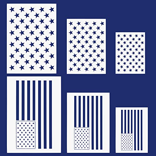 g 50 Stars 2 in 1 Flag Stencil Template for Painting on Wood, Fabric, Paper, Airbrush, Walls Art(6 Piece) ()