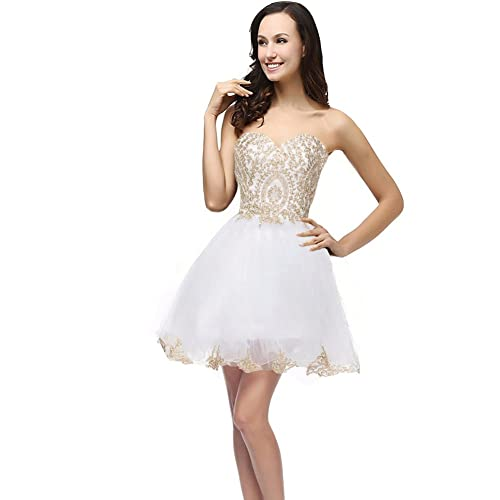 Kivary Gold Lace Crystals Short Tulle Corset Prom Homecoming Cocktail Dresses