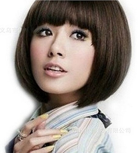 Cheap Wigs With Bangs (SuperWigy® Wigs for Sale Bob Stylish Short Straight Full Bangs Girl's Party Wig Free Shipping (Light Brown))