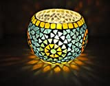 Ethnic Handmade Glass Christmas Candle Holder 5 Inches Multi Color