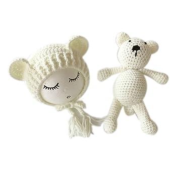 Juego de crochet para sesión de fotos de recién nacido, incluye gorro y peluche de oso blanco blanco Talla:mediano