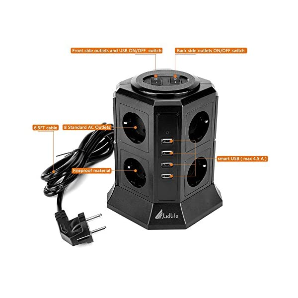 Lidlife Torretta multipresa a 8 prese, con protezione da sovratensione e da fulmini, presa multipla a torre con 4 porte USB e cavo di prolunga da 2 m, Nero 2 spesavip