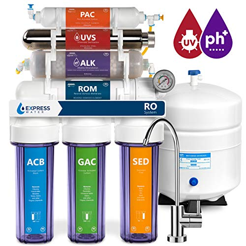 Express Water Alkaline Ultraviolet Reverse Osmosis Filtration System - 11 Stage RO UV Mineralizing Alkaline Purifier with Faucet and Tank - Mineral, pH + - 100 GDP with Pressure Gauge & Clear Housing