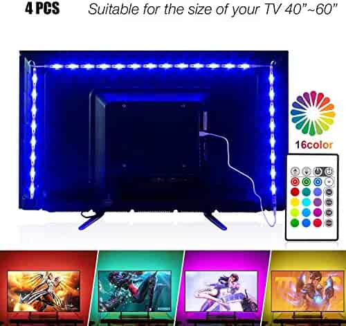 PANGTON VILLA Led Strip Lights 6.56ft for 40-60in Television USB TV Backlight Kit with Remote, 16 Color 5050, HDTV Bias Lamp
