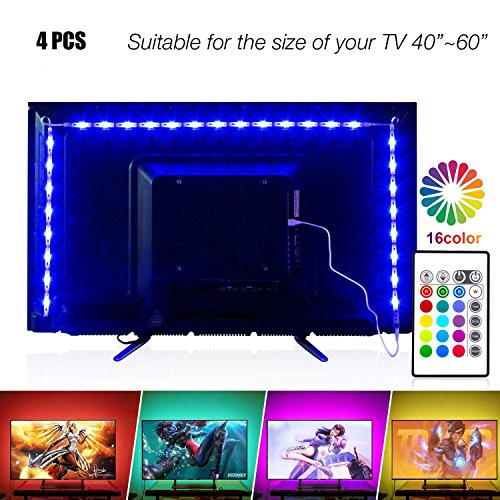 PANGTON VILLA 6.56ft for 40-60in Television,USB TV Backlight Kit with Remote 16 Color 5050 RGB,HDTV Bias Lighting, LEDs