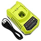 Battery Charger for Ryobi 18v, Fhybat Replacement 9.6-18 Volt P117 P102 One+ Dual Chemistry IntelliPort Lithium Ion, NiCad and Nimh Charger
