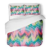 SanChic Duvet Cover Set Colorful Color Abstract Ethnic Ikat Pattern Traditional on the in Indonesia Asian Countries Creative Decorative Bedding Set with 2 Pillow Shams King Size