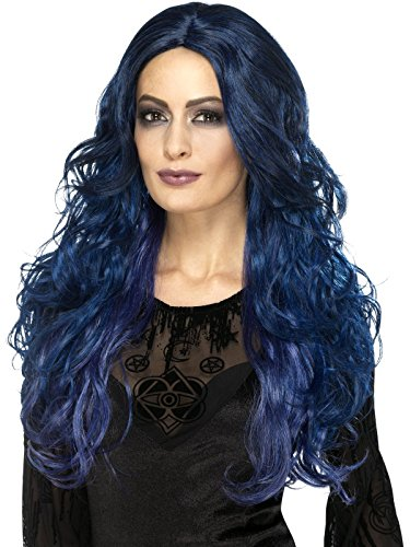 Smiffy's Women's Occult Witch Siren Wig, Blue/Black, One Size -