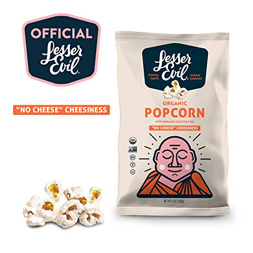 """LesserEvil Organic Popcorn,  """"No Cheese"""" Cheesiness, 5 Ounce (5 Count)"""