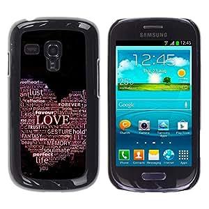 Samsung Galaxy S3 III MINI (NOT FOR S3!!!) / i8190 / i8190N , Radio-Star - Cáscara Funda Case Caso De Plástico (Love Hear Typography)