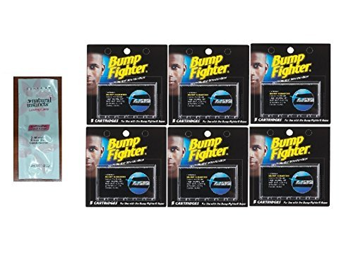 bump-fighter-refill-cartridge-blades-for-men-5-ea-pack-of-6-with-free-loving-color-trial-size-condit