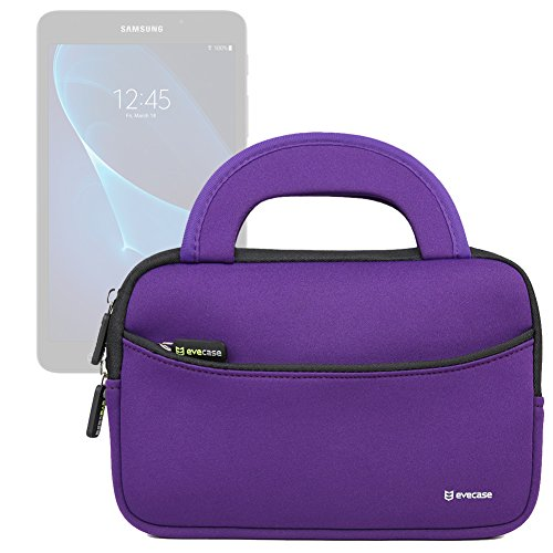 Evecase Neoprene Slim Briefcase w/ Handle & Accessory Pocket/ Ultra Portable Travel Carrying Pouch for Samsung Galaxy Tab E Lite 7.0 / Tab A 7.0 / Tab A 8.0 / Tab E 8.0 / Tab S2 - Purple by Evecase