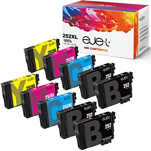 ejet 252 252XL Remanufactured Ink Cartridge Replacement for Epson 252XL T252 T252XL120 ink for Workforce WF-3640 WF-3620 WF-7210 WF-7710 WF-7720 (4 Regular Black, 2 Cyan, 2 Magenta, 2 Yellow, 10-Pack) (Epson Workforce Wf3620 Ink)