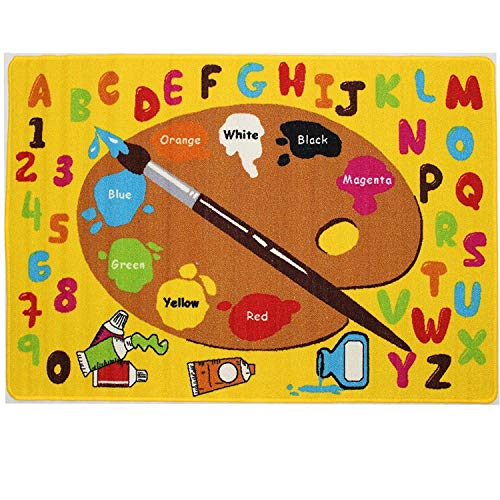 Mybecca Kids Rug Kids ABC Little Artist Area Rug Educational Alphabet Letter & Numbers (5 x 7)