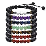 Top Plaza 7 Chakra Reiki Healing Crystals Beads Braid Adjustable Bracelet with Real Lava Rock Stone for Protection, Energy, Aromatherapy Essential Oil Diffuser(Set of 7)