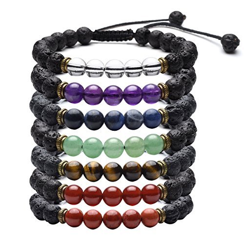 Top Plaza 7 Chakra Reiki Healing Crystals Beads Braid Adjustable Bracelet with Real Lava Rock Stone for Protection, Energy, Aromatherapy Essential Oil Diffuser(Set of 7) by Top Plaza