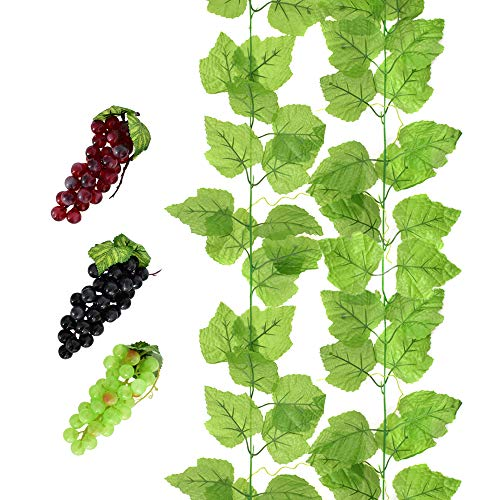 (HUIANER 2 PCS Artificial Grape Vines with 3 Strings Grapes, Each 7.5 Feet Fake Foliage Hanging Plant with 66 Pieces Leaves for Wedding Home Indoor Outdoors Party Garden Wall Decoration(Large))