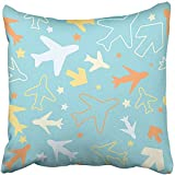 Throw Pillow Cover Polyester 20x20 Inch Kids Pattern with Color Planes Arrows and Stars Children Doodle Style Babies Room Decorative Cushion Pillowcase Two Sides Print Deco Home